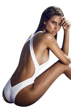 Womens Sexy Crisscross Bandage Open Back One Piece Swimwear White