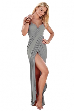 Womens Sexy Greek Goddess Spaghetti Strap Sarong Beachwear Gray