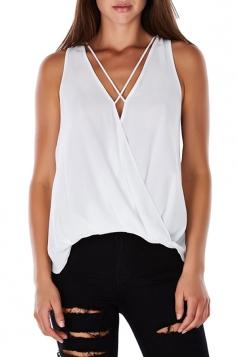 Womens Sexy Cross V-Neck Strings Sleeveless Tank Top White