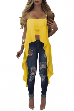 Womens Sexy Straps Asymmetrical Hem Camisole Top Yellow