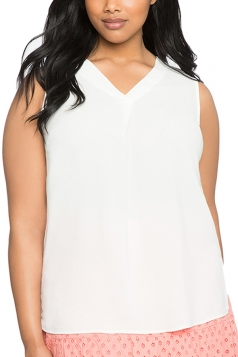 Womens Plus Size Plain V Neck T-Shirt White