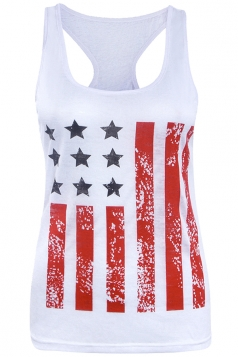 Womens Stars&Stripes Printed Camisole Top Red