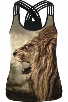 Womens Sexy Lion Printed Cross Strings Camisole Top Brown