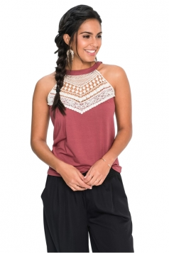 Womens Sleeveless Halter Lace Patchwork Camisole Top Watermelon Red