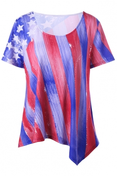 Womens Plus Size Flag Printed Stripes Irregular Hem T-Shirt Blue