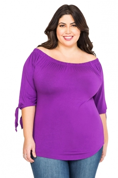 Womens Sexy Plus Size Off Shoulder Plain Blouse Purple