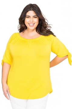 Womens Sexy Plus Size Off Shoulder Plain Blouse Yellow