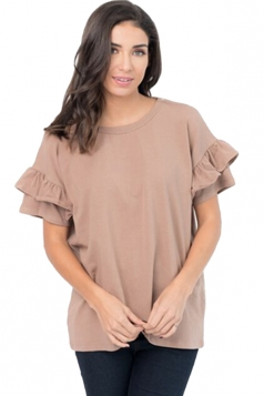 Womens Casual Flare Short Sleeve Crew Neck T-Shirt Coffee