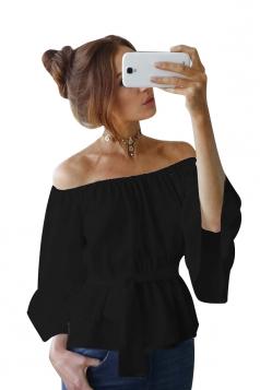 Womens Off Shoulder Bandage Flare Sleeve Blouse Black