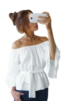 Womens Off Shoulder Bandage Flare Sleeve Blouse White