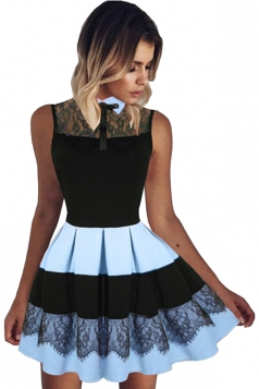 Womens Lace Patchwork High Waist Sleeveless Pleated Skater Dress Blue
