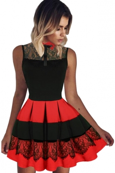 Womens Lace Patchwork High Waist Sleeveless Pleated Skater Dress Red