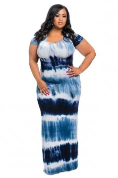 Women Plus Size Crew Neck Printed Short Sleeve Maxi Dress Blue