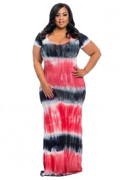 Women Plus Size Printed Short Sleeve Maxi Dress Watermelon Red
