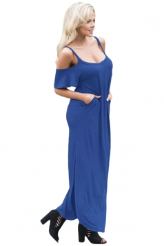 Women Straps Open Shoulder Plain Maxi Dress Blue