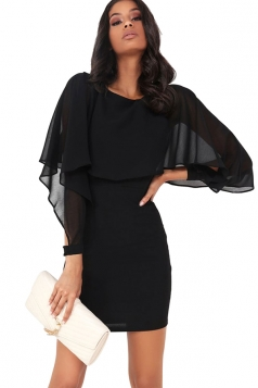 Women Ruffle Chiffon Patchwork Long Sleeve Bodycon Dress Black