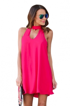 Women Plain Halter Sleeveless Cut Out Smock Dress Rose Red