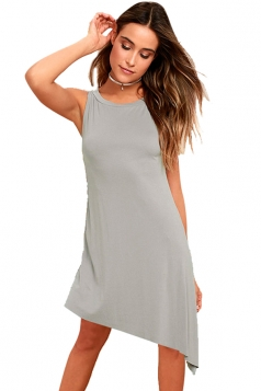 Women Casual Crew Neck Sleeveless Irregular Hem Dress Gray