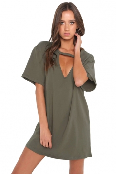 Women Casual V Neck Short Sleeve Loose Shirt Dress Army Green