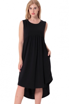 Women Crew Neck Sleeveless High Low Pleated Dress Black