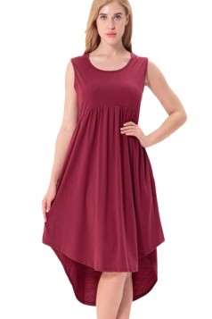 Women Crew Neck Sleeveless High Low Pleated Dress Ruby