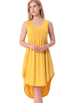 Women Crew Neck Sleeveless High Low Pleated Dress Yellow
