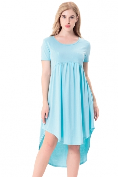 Women Crew Neck High Low Pleated Short Sleeve Smock Dress Blue
