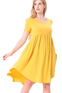 Women Crew Neck High Low Pleated Short Sleeve Smock Dress Yellow