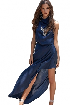Women Sexy Halter Backless High Slits Evening Dress Navy Blue