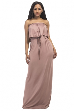 Women Sexy Plus Size Off Shoulder Draw String Maxi Dress Apricot
