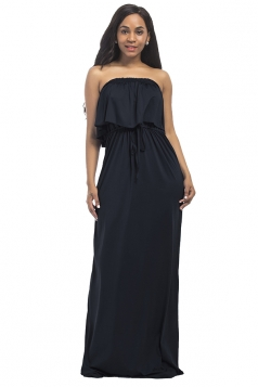 Women Sexy Plus Size Off Shoulder Draw String Maxi Dress Black