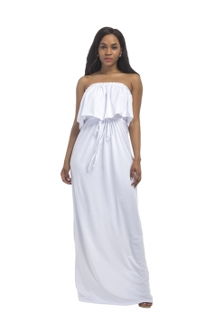 Women Sexy Plus Size Off Shoulder Draw String Maxi Dress White