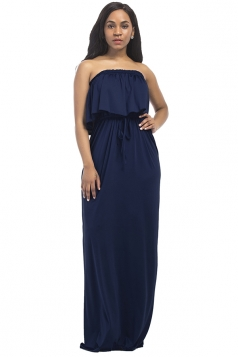 Women Sexy Plus Size Off Shoulder Draw String Maxi Dress Navy Blue