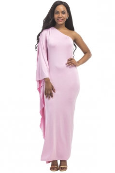 Women Sexy One Shoulder Ruffled Maxi Evening Dress Pink