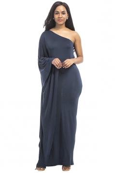 Women Sexy One Shoulder Ruffled Maxi Evening Dress Navy Blue