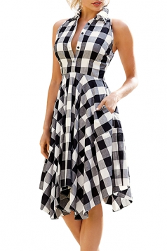Women Casual Plaid Shirt Sleeveless Irregular Hem Skater Dress Black