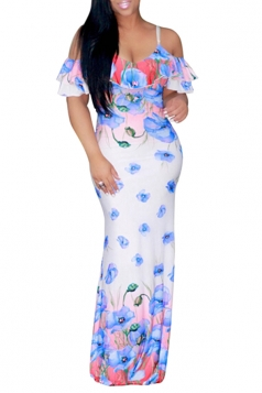 Women Strap Cold Shoulder Ruffle Floral Printed Maxi Dress Light Blue