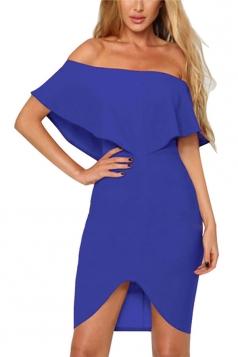 Women Sexy Off Shoulder Ruffle Zipper Irregular Hem Dress Blue