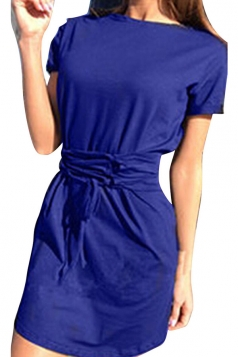 Women Fashion Crew Neck Cross Bandage Shirt Dress Blue