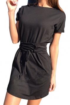 Women Fashion Crew Neck Cross Bandage Shirt Dress Black
