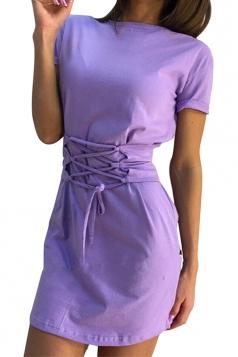 Women Fashion Crew Neck Cross Bandage Shirt Dress Purple