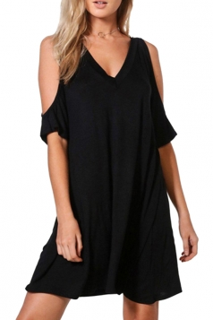 Women Casual Cold Shoulder V Neck Plain Shirt Dress Black