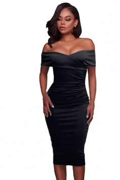 Womens Sexy Off-The-Shoulder Slimming Pleated Bodycon Dress Black