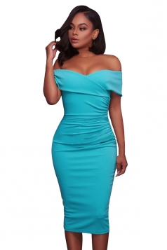 Womens Sexy Off-The-Shoulder Slimming Pleated Bodycon Dress Light Blue