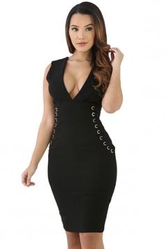 Women Sexy Deep V-Neck Zipper Lace-Up Sideways Bodycon Dress Black