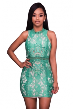 Women Sexy Lace Patchwork Hollow Out Waist Bodycon Dress Green
