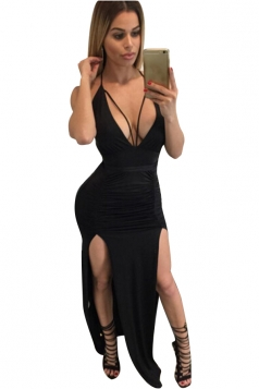 Women Deep V Neck Backless Pleated High Slits Club Wear Dress Black
