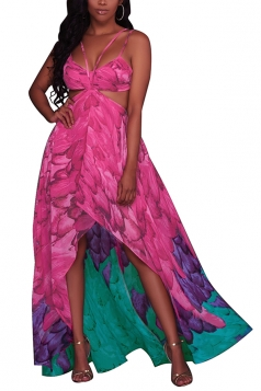 Women Sexy Straps Printed Cut Out Beach Wear Maxi Dress Rose Red