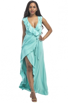 Women Plus Size Deep V Neck Ruffle Sleeveless Maxi Dress Light Blue