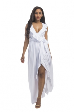 Women Plus Size Deep V Neck Ruffle Sleeveless Maxi Dress White